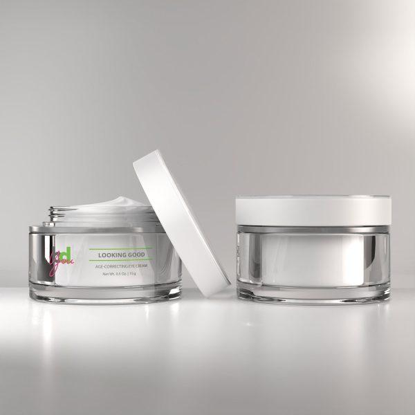 bottle of age correcting eye cream front and back
